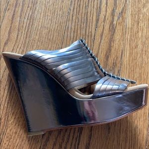 Coach Bristol Silver Metallic Wedge Sandals